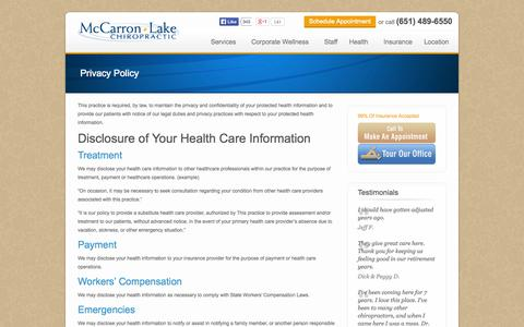 Screenshot of Privacy Page mlchiro.com - Privacy Policy | McCarron Lake Chiropractic - captured Oct. 4, 2014