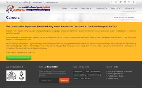 Screenshot of Jobs Page tanzeem.ae - Careers ⋆ Tanzeem Heavy Equipment Rental LLC - captured Dec. 20, 2018