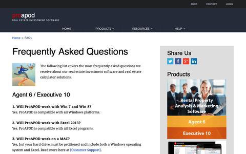 Screenshot of FAQ Page proapod.com - ProAPOD FAQs - captured Sept. 29, 2018