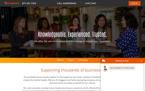 Screenshot of About Page moneypenny.com - About us | Moneypenny - captured Oct. 16, 2019