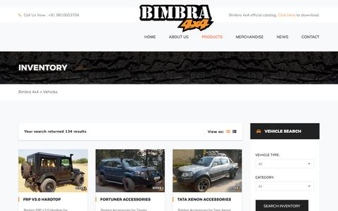 Screenshot of Products Page bimbra.in - Vehicles – Bimbra 4×4 - captured Oct. 10, 2017