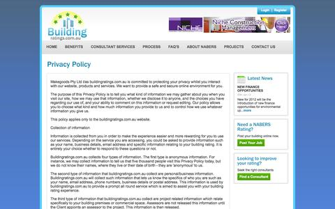 Screenshot of Privacy Page buildingratings.com.au - CBD | Nabers Rating | Nabers Ratings | Building Rating | Building Ratings - captured Oct. 5, 2014