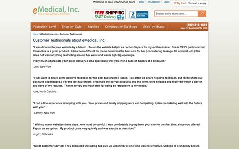 Screenshot of Testimonials Page emedicalnow.com - eMedicalnow.com - Customer Testimonials - captured Oct. 3, 2014