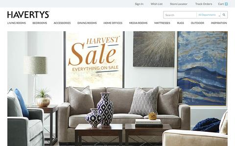 Screenshot of Home Page havertys.com - Welcome to Havertys - captured Oct. 1, 2015