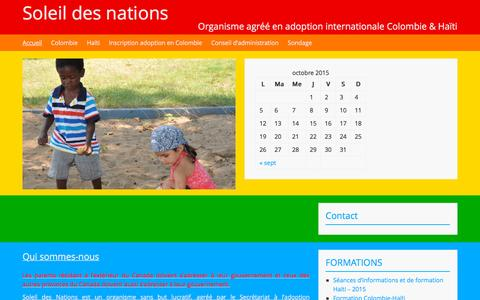 Screenshot of Home Page soleildesnations.org - Soleil des nations | Organisme agréé en adoption internationale Colombie & Haïti - captured Oct. 16, 2015