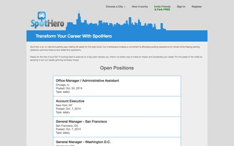 Screenshot of Jobs Page spothero.com - Transform Your Career With SpotHero - captured Oct. 30, 2014