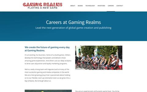 Screenshot of Jobs Page gamingrealms.com - Careers | GamingRealms - captured May 15, 2017
