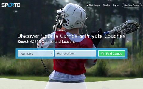 Screenshot of Home Page sportd.com - Find The Best Sports Camps and Private Coaches - Sportd - captured Aug. 17, 2015
