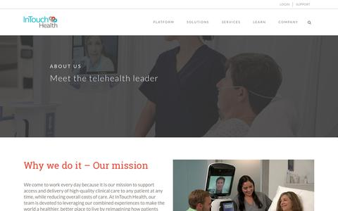 Screenshot of About Page intouchhealth.com - About Us: Meet Your Partner In The Healthcare Revolution - captured July 12, 2018