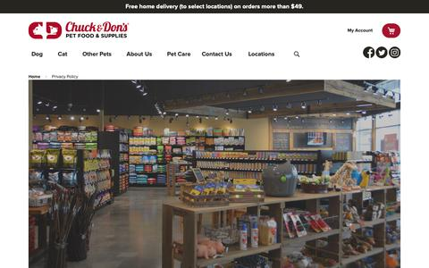 Screenshot of Privacy Page chuckanddons.com - Privacy Policy   Chuck & Don's - captured Feb. 1, 2019
