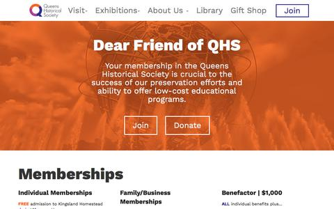 Screenshot of Signup Page queenshistoricalsociety.org - Join  |           Queen Historical Society – Kingsland Homestead - captured Jan. 6, 2018