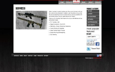 Screenshot of Services Page helzfirearms.com - Services - captured Sept. 29, 2014