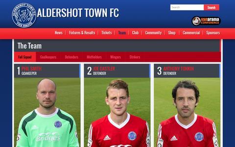 Screenshot of Team Page theshots.co.uk - First Team | Aldershot Town FC - captured Nov. 2, 2014