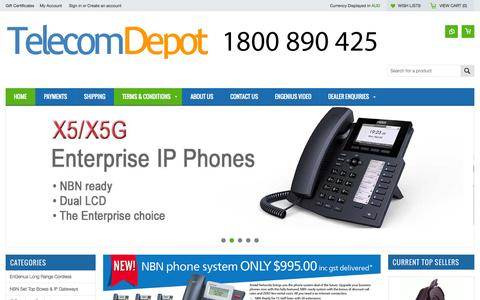 Screenshot of Home Page telecomdepot.com.au - Telecom Depot sells an extensive range of Engenius Long Range Cordless, Aristel Phone Systems, MyPBX IP Systems and Uninterruptible Power Supplies - captured Sept. 2, 2015