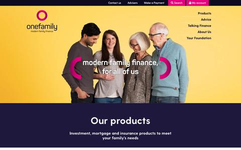 Screenshot of Products Page onefamily.com - Insurance, investments and mortgage products | OneFamily - captured Oct. 18, 2018