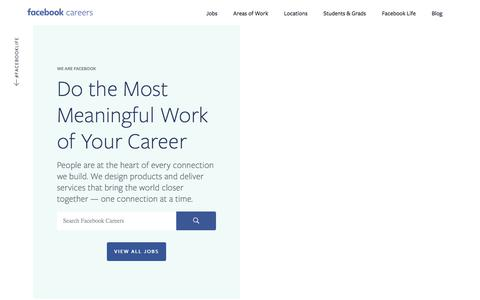 Screenshot of Jobs Page facebook.com - Facebook Careers - captured July 13, 2018