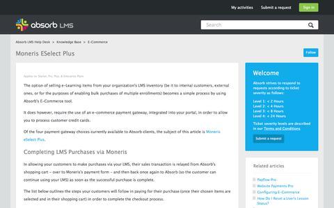 Screenshot of Support Page absorblms.com - Moneris eSelect Plus – Absorb LMS Help Desk - captured Jan. 13, 2017
