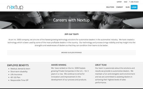 Screenshot of Jobs Page thenextup.com - Looking for more than just job? Join Nextup | Careers - captured Nov. 11, 2019