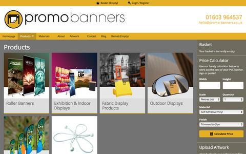 Screenshot of Products Page promo-banners.co.uk - Products | Promo Banners - captured May 21, 2017