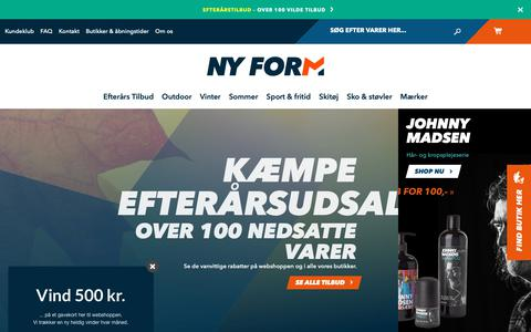 Screenshot of Home Page ny-form.com - Billigt sportstøj online | Køb sportstøj på tilbud hos NY FORM - captured Oct. 18, 2018