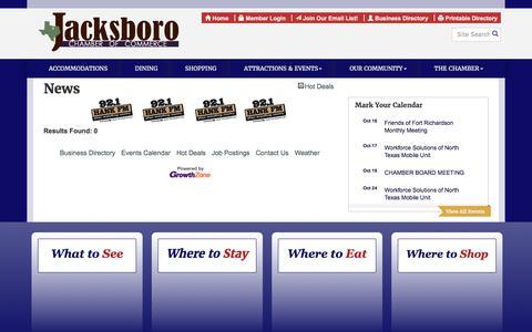 Screenshot of Press Page jacksborochamber.com - News - Jacksboro Chamber of Commerce, TX - captured Oct. 16, 2017