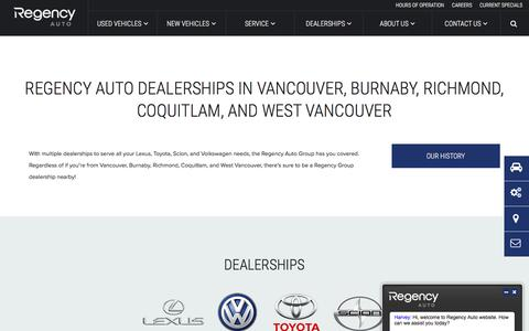 Screenshot of Locations Page regencyauto.com - Learn More About the Regency Auto Group of Dealerships - captured Feb. 18, 2016
