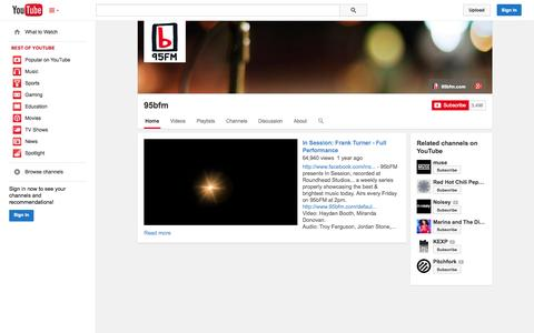 Screenshot of YouTube Page youtube.com - 95bfm  - YouTube - captured Oct. 25, 2014