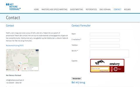 Screenshot of Contact Page hetbetereverhaal.nl - Home - Het Betere Verhaal - Speech cursussen, Ghostwriting & Persoonlijke begeleiding - captured Sept. 30, 2014