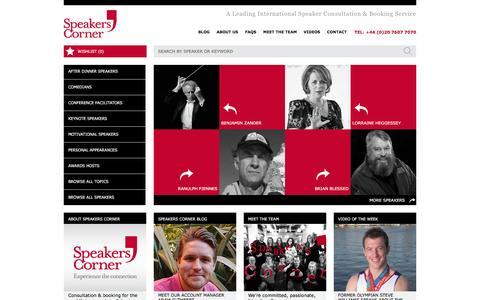 Screenshot of Home Page speakerscorner.co.uk - Speakers Corner - Speaker Bureau - Motivational & After Dinner Speaker - captured Aug. 15, 2016