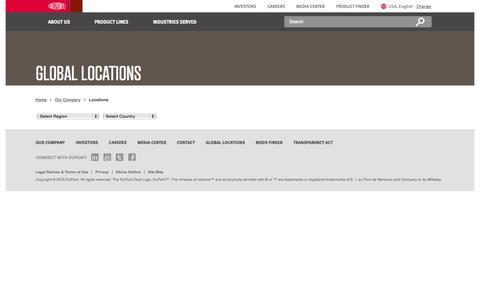 Screenshot of Locations Page dupont.com - DuPont Global Locations   DuPont USA - captured Nov. 16, 2015