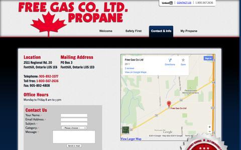 Screenshot of Contact Page Hours Page freegasco.com - Propane Heating, Emergency Propane Delivery to Niagara, Haldimand, Caledonia, Stoney Creek, Binbrook, Hamilton, Propane Jarvis, Smithville. - captured Oct. 6, 2014