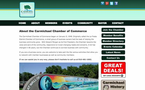Screenshot of About Page carmichaelchamber.com - About the Carmichael Chamber of Commerce | Carmichael Chamber of Commerce - captured Oct. 31, 2014
