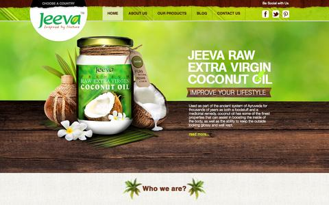 Screenshot of Home Page jeevauk.com - JEEVA - Extra Virgin Raw Coconut Oil | Natural iON Food Supplement - captured Sept. 30, 2014