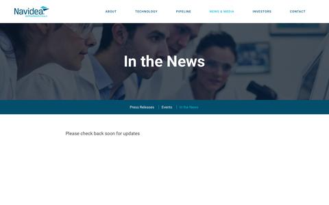 Screenshot of Press Page navidea.com - In the News :: Navidea Biopharmaceuticals, Inc. (NAVB) - captured Nov. 1, 2017