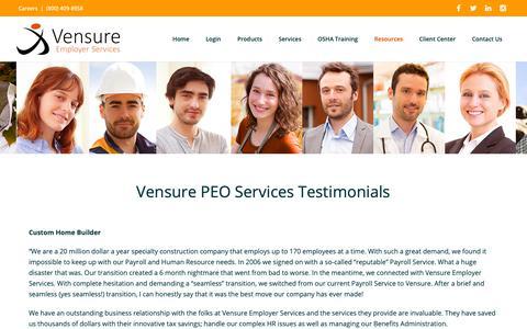 Screenshot of Testimonials Page vensureinc.com - Vensure Testimonials   PEO Services for Small Businesses - captured Oct. 18, 2018
