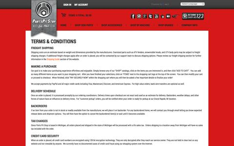 Screenshot of Terms Page partspitstop.com - TERMS & CONDITIONS - captured Sept. 29, 2014