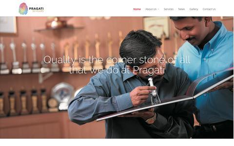 Screenshot of Home Page pragati.com captured Jan. 30, 2016