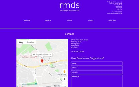 Screenshot of Contact Page rmdesign.org.uk - Design | Hampshire | RM Design Solutions | Contact - captured Dec. 21, 2018