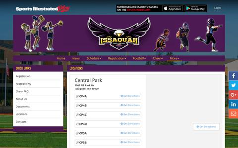 Screenshot of Locations Page issyfootball.org - Location Information - captured Oct. 15, 2017