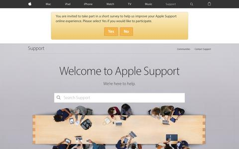 Screenshot of Support Page apple.com - Official Apple Support - captured April 30, 2016