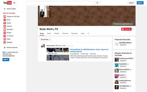 Screenshot of YouTube Page youtube.com - Bader Martin, PS  - YouTube - captured Oct. 23, 2014