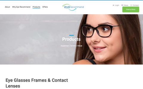 Screenshot of Products Page eyerecommend.ca - Eye Glasses Frames & Contact Lenses – Eye Recommend - captured July 23, 2018