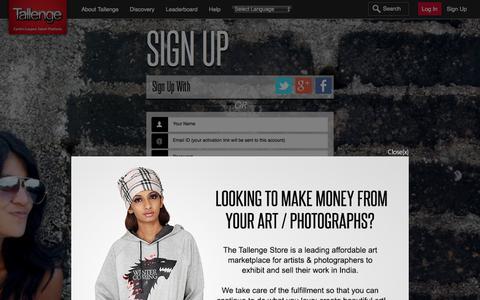 Screenshot of Signup Page tallenge.com - Tallenge - Log In - captured Jan. 4, 2016