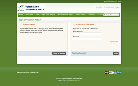 Screenshot of Login Page mmaservices.com - Customer Login - captured Oct. 3, 2014