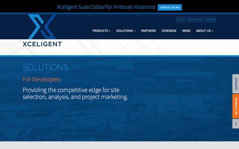 Screenshot of Developers Page xceligent.com - For Developers | Xceligent, Inc. - captured June 30, 2017