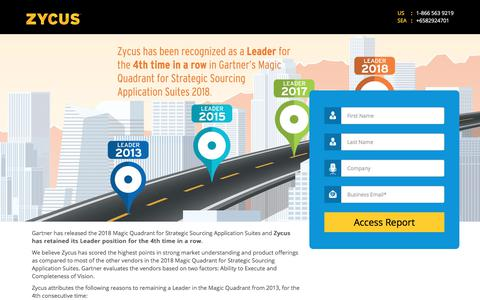 Screenshot of Landing Page zycus.com - Gartner Magic Quadrant Report 2018 - captured Aug. 14, 2018