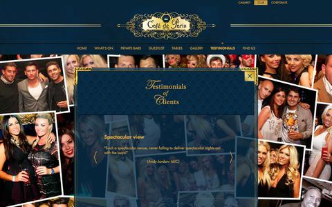 Screenshot of Testimonials Page cafedeparis.com - Customer and Client Testimonials of Café de Paris Club Nights - captured Nov. 9, 2016