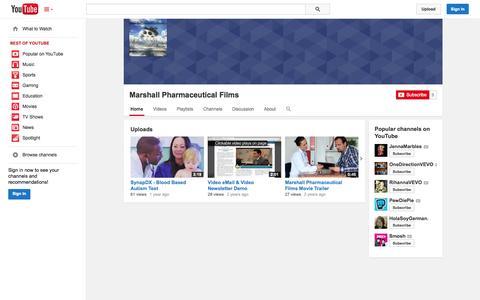 Screenshot of YouTube Page youtube.com - Marshall Pharmaceutical Films  - YouTube - captured Oct. 27, 2014