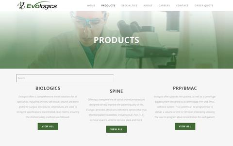 Screenshot of Products Page evologicsamerica.com - PRODUCTS | BIOLOGICS FOR SPINE, SPORTS MEDICINE AND MORE - captured July 22, 2018