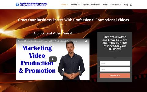 Screenshot of Home Page appliedmarketinggroup.com - Professional Marketing Video Production and Promotion - captured July 25, 2016